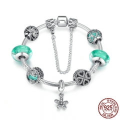 925 Sterling Silver Blooming Daisy Pendant,Green Crystal Murano Glass Beads Charm Bracelet Sterling Silver Jewelry PSB016