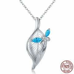 Authentic 925 Sterling Silver Dragonfly with Tree Leaves CZ Pendant Necklaces for Women Sterling Silver Jewelry BSN001