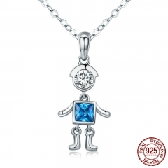 Real 100% 925 Sterling Silver Cute Figure Cool Boy & Girl Pendant Necklaces for Women Fashion Silver Jewelry Gift SCN206