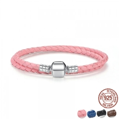 Genuine Long Double Pink Black Braided Leather Chain Women Bracelets with 925 Sterling Silver Snake Clasp PAS908