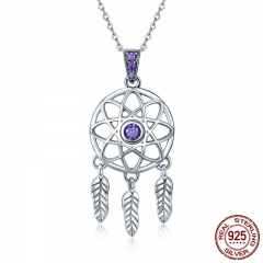 Genuine 925 Sterling Silver Vintage Dream Catcher Necklaces Pendants for Women Fashion Necklace Silver Jewelry SCN279
