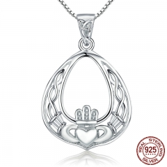 Luxury New Genuine 925 Sterling Silver Openwork Gorgeous Crown Pendant Necklaces Women Authentic Silver Jewelry SCN137