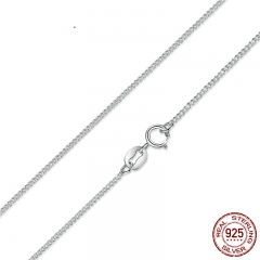 Real 925 Sterling Silver Necklace Adjustable Chain Lobster Clasp Simple Chain Fashion Necklace Jewelry 2 Style SCA006-45