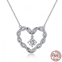 Real 925 Sterling Silver Minimalism Twisted Heart Shape Crystal Pendant Necklaces Women Sterling Silver Jewelry SCN260