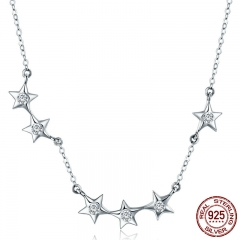 Authentic 925 Sterling Silver Dazzling CZ Stackable Star Pendant Necklaces for Women Sterling Silver Jewelry Gift SCN273