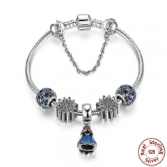 925 Sterling Silver Snake Safety Chain Bracelet With Ariel's Ice Crystal,Ocean Mosaic Pave Jewelry PSB005