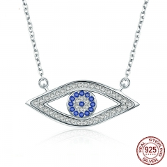 100% Authentic 925 Sterling Silver Lucky Blue Eyes Punk Pendant Necklaces for Women Collares Fine Jewelry SCN074