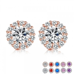 10 Colors Romantic Gold Color Round Stud Earrings with AAA Zircon For Women Jewelry boucle d'oreille JIE054