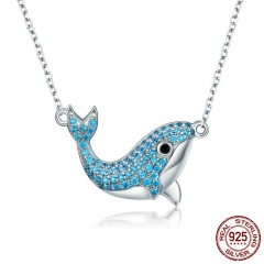 Genuine 925 Sterling Silver Cetaceans Blue Whale Blue Crystal Pendant Necklace for Women Sterling Silver Jewelry SCN224