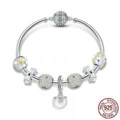 925 Sterling Silver White Daisy Flower Dazzling CZ Pendant Bracelets Bangles for Women Sterling Silver Jewelry SCB806