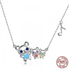100% 925 Sterling Silver Bear Family Colorful CZ Pendant Necklaces for Women Fashion Necklace Jewelry Making Gift BSN002
