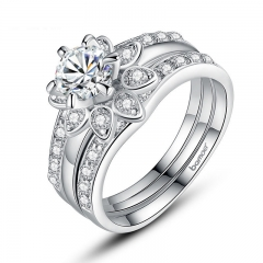 Silver Color Couple Flower Ring Bridal Set for Women with AAA Cubic Zircon Surround Jewelry YIR037