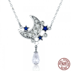 Genuine 925 Sterling Silver Crescent Moon & Star Shimmering Crystal Pendant Necklaces for Women Fine Jewelry Gift SCN110 NECK-0071