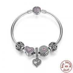 Original 925 Sterling Silver Heart Bangles & Bracelet with Mom Pendant,Pink Sweetheart Charm Best Gift for Mother PSB002