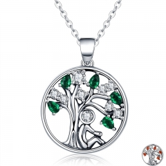 Popular 925 Sterling Silver Rely Tree of Life Pendant Necklaces Clear Green CZ Women Fashion Jewelry Brincos Gift SCN094
