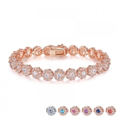 7 Colors Rose Gold Color Chain Link Bracelet for Women Ladies Shining AAA Cubic Zircon Crystal Jewelry Gift JIB012