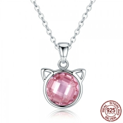 Genuine 925 Sterling Silver Cute Cat Pendant Necklaces with Pink Zircon for Women Animal Jewelry SCN083