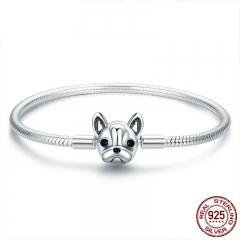 100% Genuine 925 Sterling Silver French Bulldog Doggy Snake Chain Women Bracelet & Bangles Silver Jewelry 17-19CM SCB075