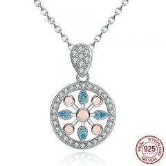Real 925 Sterling Silver Pink and Blue Blooming Flowers Openwork Necklaces & Pendants Engagement Fine Jewelry SCN037