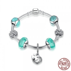 925 Sterling Silver Hope Clover Pendant Daisy Spacer Green Beads Women Charm Bracelet Sterling Silver Jewelry PSB013