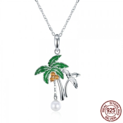 Summer Collection Genuine 925 Sterling Silver Coconut Tree Women Pendant Necklaces Sterling Silver Jewelry SCN257