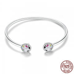 New Arrival 925 Sterling Silver Colorful Enamel Women Bracelets Bangles for Women Sterling Silver Jewelry SCB082