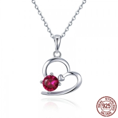 Romantic 925 Sterling Silver Heart Pave Red Crystal CZ Necklaces Pendants for Women Fashion Necklace Jewelry SCN276