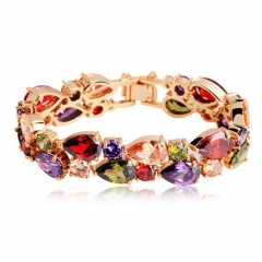 High Quality Rose Gold Color Mona Lisa Zircon Bracelet for Women Multicolor CZ Stones Special Store JIB001