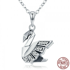 New Collection 100% 925 Sterling Silver Paper Swan Shape Pendant Necklaces for Women Sterling Silver Jewelry Gift SCN219