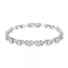 Trendy Silver Color Clear CZ Bracelets for Women Classic Tennis Chain Link Women Bracelet Fine Silver Jewelry YIB045