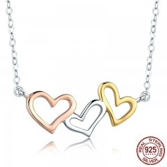 Romantic Real 925 Sterling Silver Sweet Heart to Heart Pendant Necklaces Women Fashion Sterling Silver Jewelry SCN268