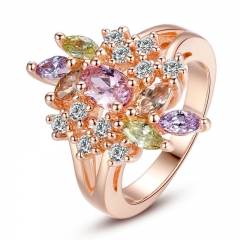 Rose Gold Color Flower Finger Ring for Women with AAA Multicolor Cubic Zircon Wedding Jewelry JIR015