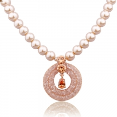 Crystal and Imitation Pearl Round Pendant Necklace for Women Gold Color Fashion Wedding Jewelry JSN067