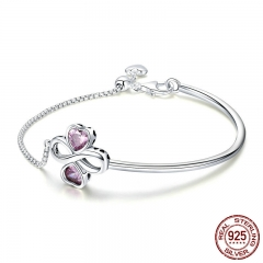 925 Sterling Silver Elegant Clover Love Pink CZ Bracelets & Bangles for Women Original Sterling Silver Jewelry SCB092