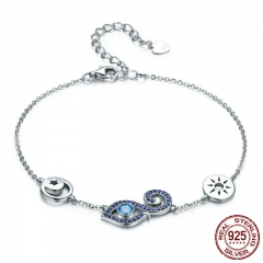 High Quality 925 Sterling Silver Lucky Blue Eyes Lobster Clasp Women Bracelet Blue CZ Sterling Silver Jewelry SCB072