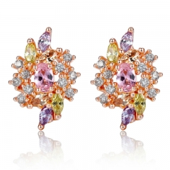 Real Rose Gold Color Oversized Big Stud Earrings with Multicolor Zircon For Women Luxury Christmas Gift JIE034