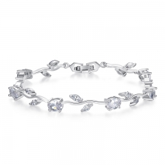 Real White Gold Color Leaf Chain & Link Bracelet with Clear Rhinestone for Mother's Day Gifts Jewelry JIB071 FASH-0099