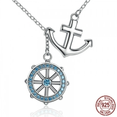 New Collection 925 Sterling Silver Blue Anchor & Rudder Pendants & Necklaces Wedding Jewelry 45CM SCN049