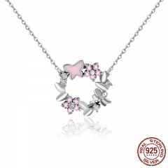 100% 925 Sterling Silver Pink Poetic Daisy Cherry Blossom Wreath Women Pendant Necklaces Sterling Silver Jewelry SCN098 NECK-0068