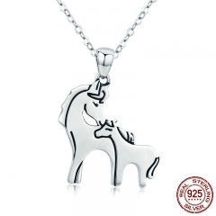 Fashion New 925 Sterling Silver Loving Horse Mother Gift Animal Pendant Necklace for Women Sterling Silver Jewelry SCN213