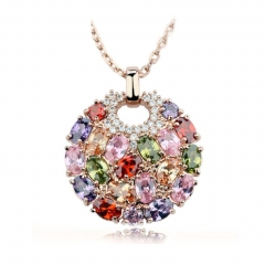 Multicolor Crystal Round Necklaces & Pendants for Women Gold Color Swiss CZ Zircon Women Clothing Accessories JIN004