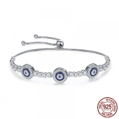 New Arrival Genuine 925 Sterling Silver Luxury Round Blue Eyes Clear Cubic Zircon Crystal Tennis Bracelet Jewelry SCB002 BRACE-0028