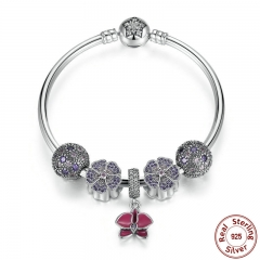 Authentic 100% 925 Sterling Silver Bangles & Bracelet with Radiant Orchid,Primrose,Cosmic Stars Clip Charm PSB001
