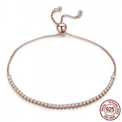 Valentine Day Gift 925 Sterling Silver Dazzling Gold Strand Bracelet Tennis Bracelet Women Sterling Silver Jewelry SCB046