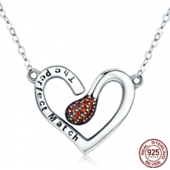 100% 925 Sterling Silver Sparks of Love Perfect Match Pendant Necklaces for Women Silver Jewelry Girlfriend Gift SCN267