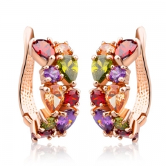 Gold Color Unique Stud Earrings with Multicolor AAA Zircon Stone Nickel, Cadmium free Jewelry JIE020 FASH-0016