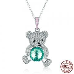 Trendy 925 Sterling Silver Pendant Crystal Cute Bear Green CZ Necklaces for Women Silver Necklace Jewelry Gift SCN265