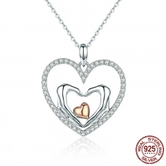 New Trendy 100% 925 Sterling Silver Romantic Heart to Heart Luminous CZ Pendant Necklaces for Women Silver Jewelry SCN248
