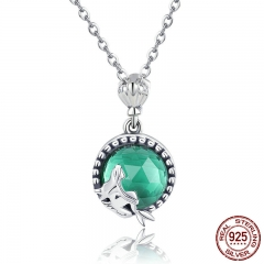 Genuine 925 Sterling Silver Romantic Fairy Story Light Green CZ Pendant Necklaces Women Sterling Silver Jewelry SCN262