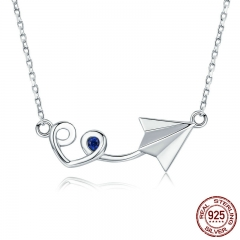 New Arrival Genuine 925 Sterling Silver Paper Plane with Heart Pendant Necklace for Women Sterling Silver Jewelry SCN218
